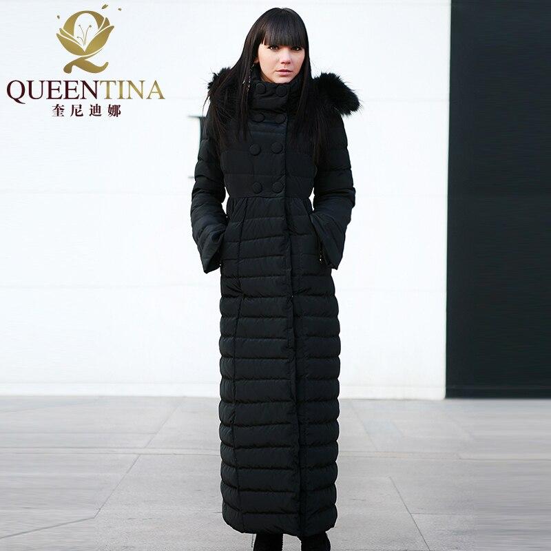 Women Winter Down Coats Hooded 2018 New Luxury Real Raccoon Fur Hat Down Jacket&Coat Girls X-Long Jacket Parka Black Size S-XXL