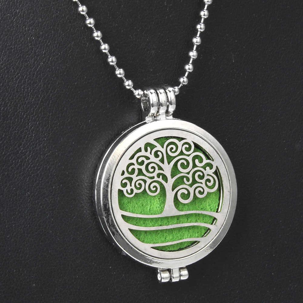 24 עיצוב עץ של חיים ארומתרפיה שרשרת נירוסטה פתוח בושם שמני אתריים מפזר ארומה שרשרת תכשיטים