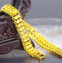 Big Royal Bracelet Sarts Carved Chain Men Solid 18K Yellow Gold Plated Cool Bangle Valued Jewelry Wholesale