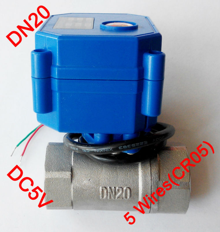 3/4 Mini electric ball valve 5 wires(CR05), DC5V motorized valve SS304, DN20 electric actuator valve position feedback 1 2 ss304 electric ball valve 2 port 110v to 230v motorized valve 5 wires dn15 electric valve with position feedback