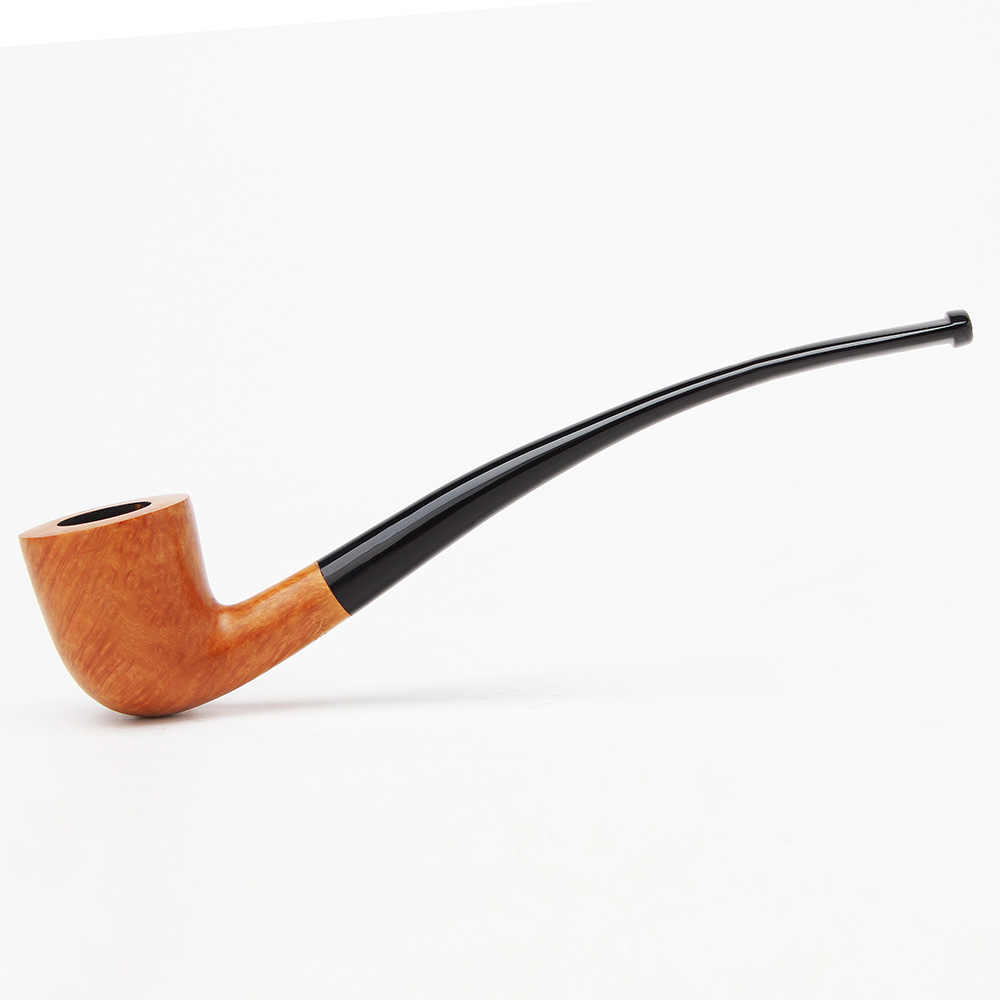 RU-Briar Wooden tobacco Pipes for Smoking Churchwarden pipe Bent Type with  3mm filter aa0334