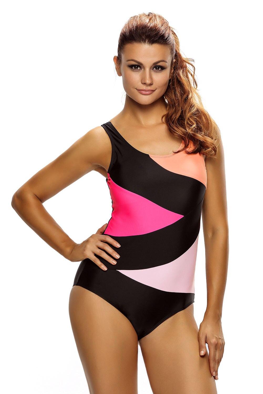 Sexy Women Color Block Front Lace up One Piece Swimsuit Bikini Padded Teddy Swimwear Bathingsuit Beachwear Summer Monokini Wear