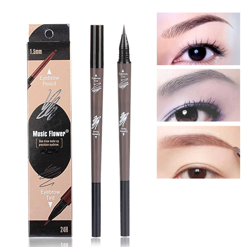 Eyebrow Pencil + Tint Eyebrow Liquid Pencil Waterproof Long Lasting Eyebrow Tattoo Tint Pen Double Head Super Fine Brow Line Pen