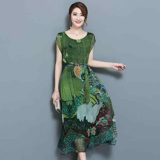 Spring Summer Green Vintage Floral Print Dresses Women O-Neck Short Sleeve Silk Dress Mid-Calf Vestidos Big Size 4XL AH940