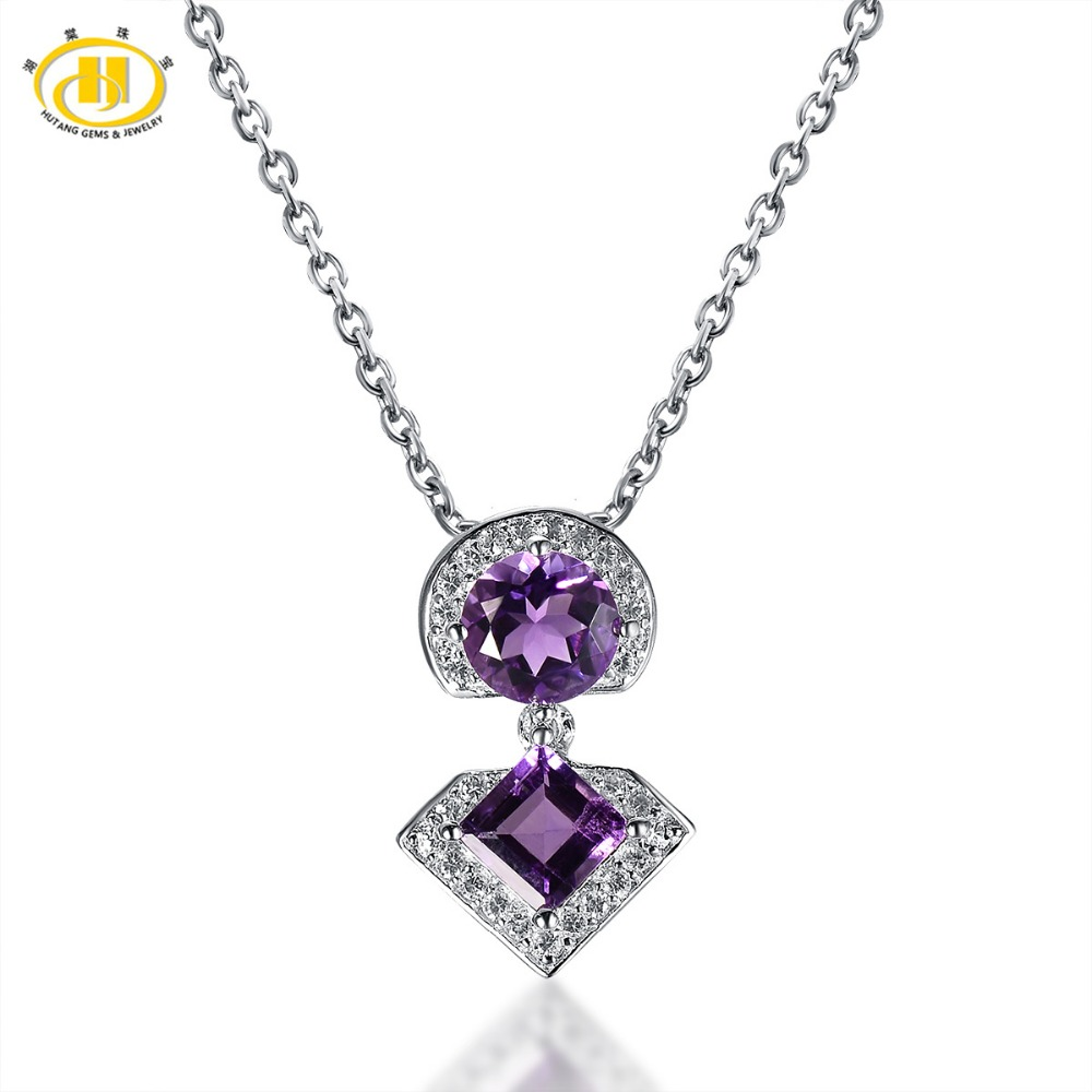 Hutang 1.59CTW Natural African Amethyst Solid 925 Sterling Silver Pendant Necklace Gemstone Fine Jewelry Women's Gift 2017 New
