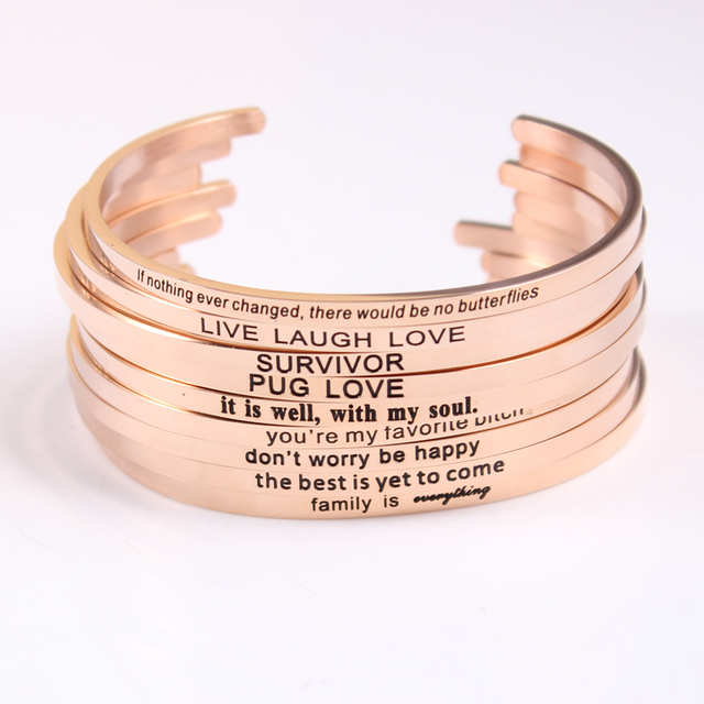 7a1e32b9c9c9 2017 New Rose Gold Stainless Steel Engraved Positive Inspirational Quote  Hand imprint Cuff Bracelet Bangle For