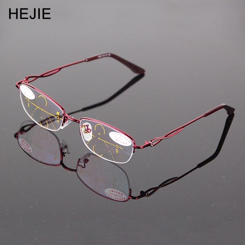 Módní Dámské Slitiny Multifokální Brýle Na čtení Brýle Značka Oválný poloviční okraj Vysoce kvalitní Diopter + 1,0- + 4,0 Zlato Y1153