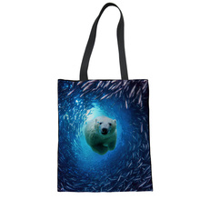 FORUDESIGNS Canvas Shopping Bag Shark Dolphin Blue Shoulder Carrying Bag Eco Reusable Cloth Bag Personalized Tote Bag 2018 New
