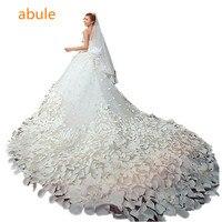 Abule 2016 Luxury Soft Tulle Handmade Sweetheart Beads Crystal Royal Train Custom Size Wedding Dresses Vestidos