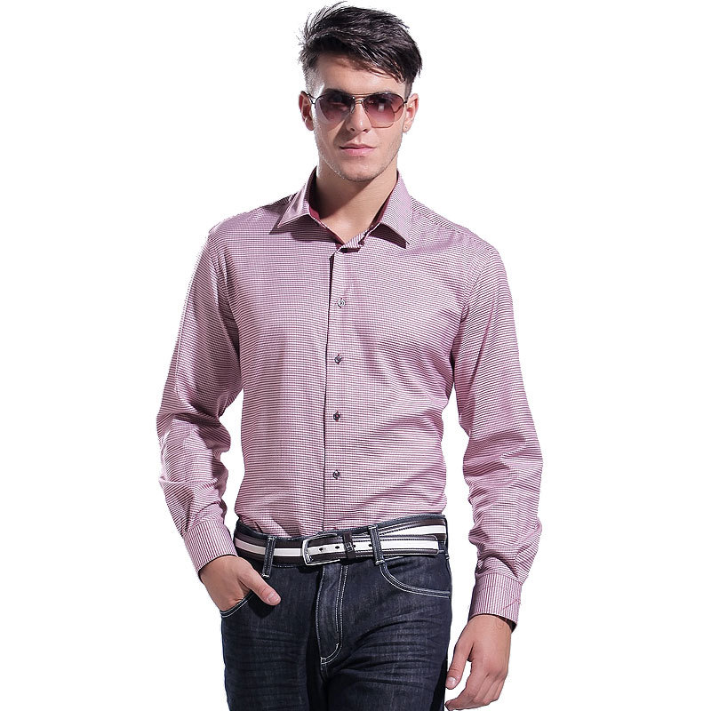 Lesmart New Style Mens Shirt Business Fashion Casual Slim Fit Dress British Quality Long Sleeve Plaid Camisas Masculina - Qingdao Textile Co., ltd store