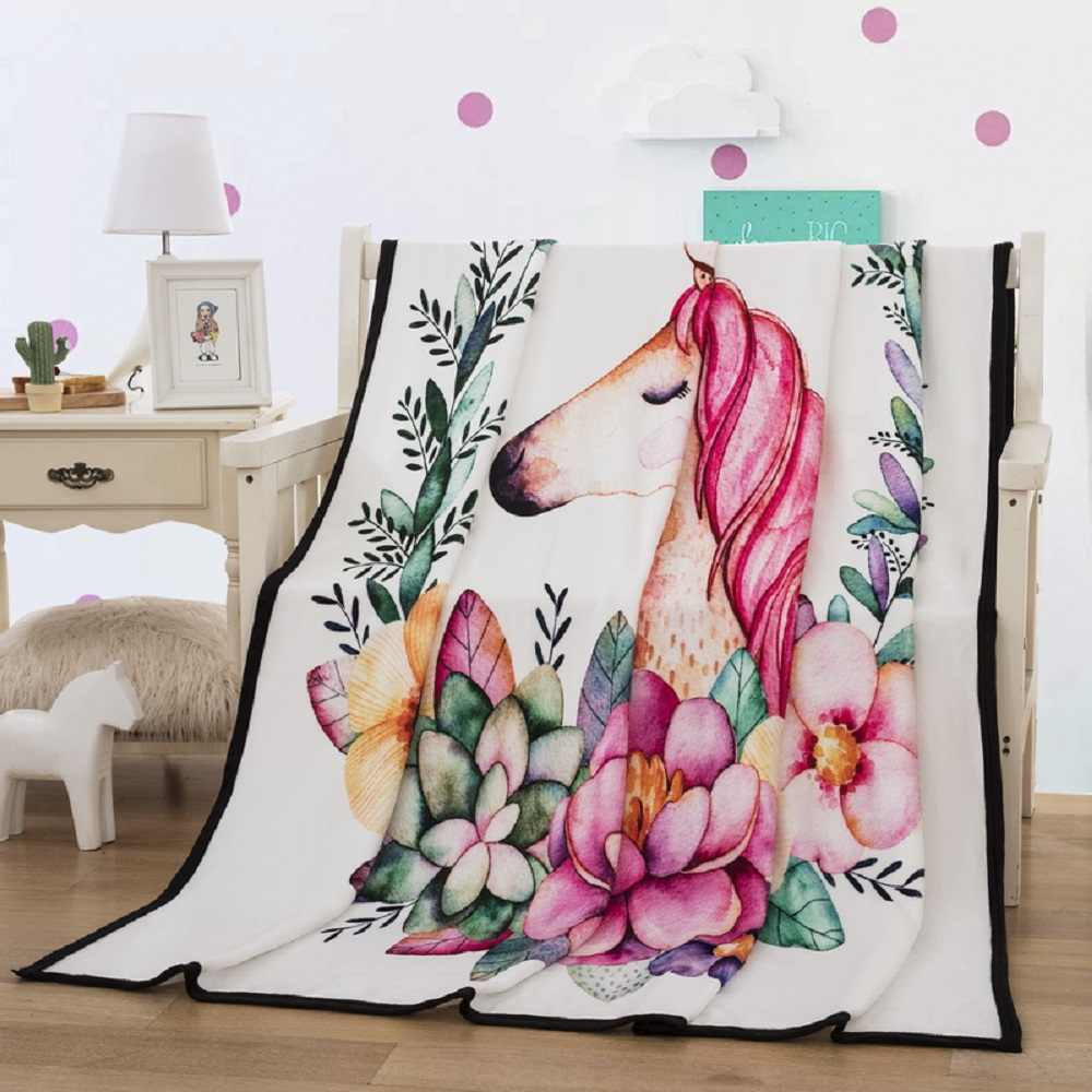 Cartoon Unicorn Pink Floral Blanket for Beds Thin Quilt Fashionable Bedspread 150x200cm Coral Fleece Plush Throw Home Blanket