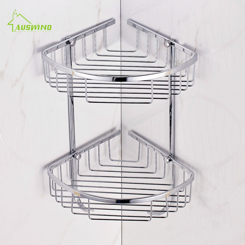 2 Layer SUS 304 Stainless Steel Bathroom Shelf Tripod Bathroom Rack ...