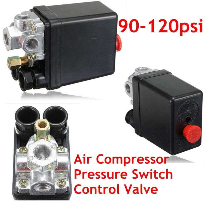 Heavy Duty Air Compressor Pressure Control Switch Valve 90-120PSI 12 Bar 20A AC220V 4 Port 12.5 x 8 x 5cm Favorable Price 13mm male thread pressure relief valve for air compressor
