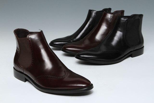 Mens Blackcoffee Leather Slip On Plain Toe Dress Ankle Boot Mens