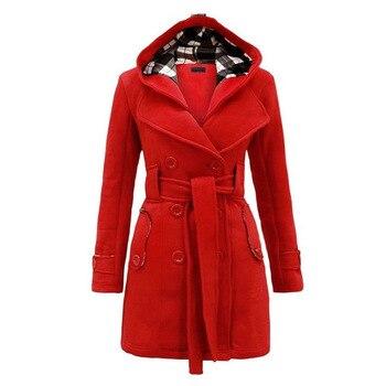XUXI 2019 Winter Woman Coat Female Overcoat Warm Waist Hooded Women Long Section Double Breasted Wool Windbreaker FZ303 3
