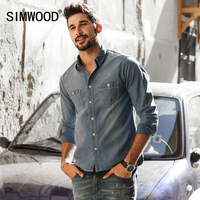 SIMWOOD 2017 New Spring Summer Denim Shirts Men Long Sleeve 100 Pure Cotton Slim Fit CS1599