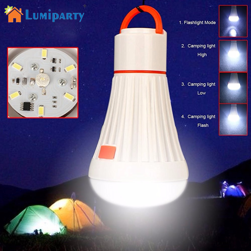 LumiParty Camping Lights 4 Modes Tent Lights LED Camping Outdoor Portable Lantern Light Bulb with Flashlight for Camping, Hiking