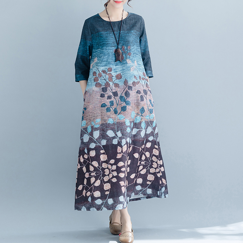 Grande taille femmes longue robe Vintage dame Vestidos lâche décontracté imprimer robe femme élégante Sundress 2019 printemps été nouveau LJ2285