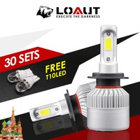 30 Set Light Bulbs for Auto H4 LED H7 Car Light Super Bright Ship from Russian COB Headlight 16000LM 12V 80W Hi Low Beam 6000K
