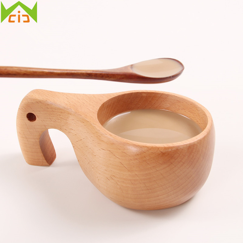 WCIC Handmade Wood Kids Spoons Wooden Coffee Spoon Dessert Mixing Spoons Long Handle Flatware Kitchen Tableware Cooking Tools