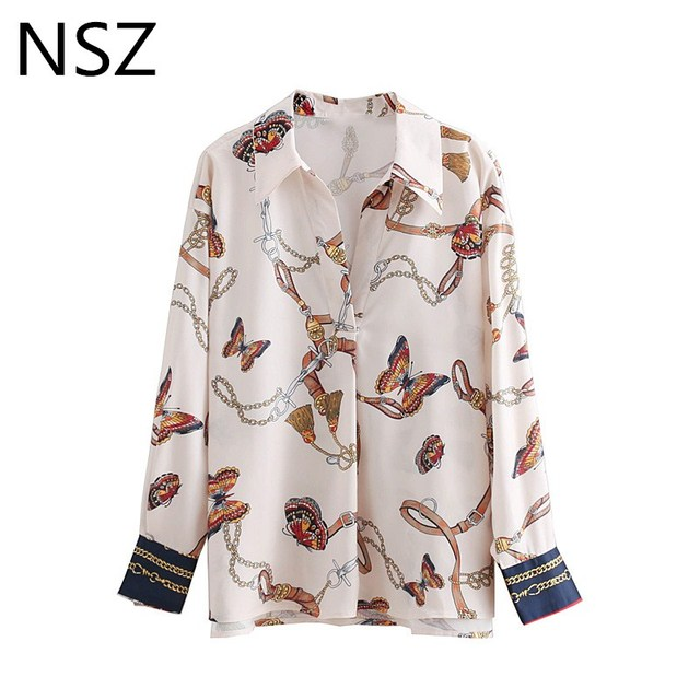 NSZ Women Chain Print Blouse Long Sleeve Shirt Autumn 2018 New Chic Tops Blusas Elegantes High street