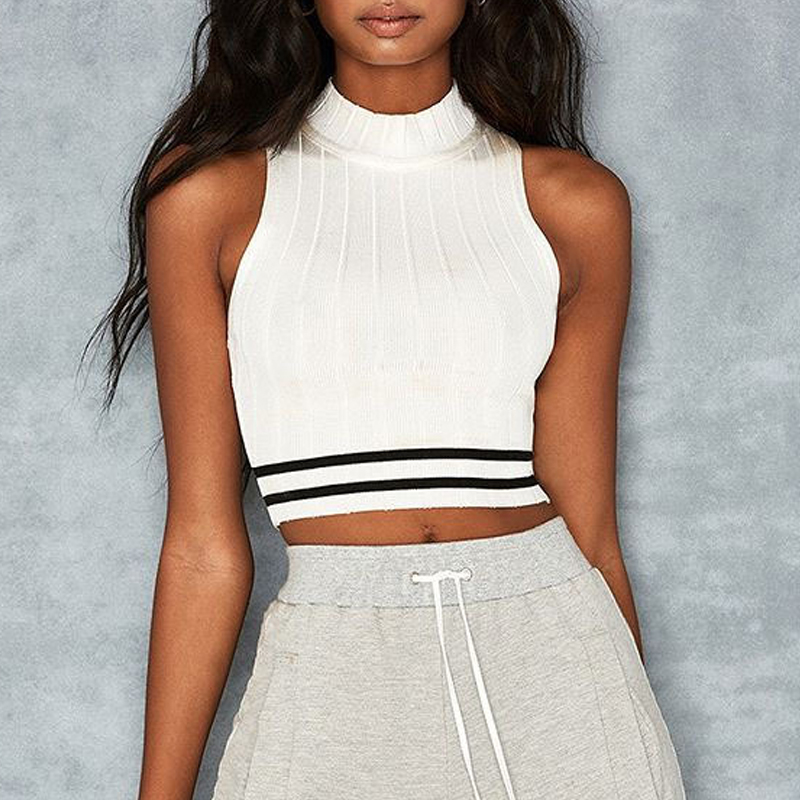 knitwear tank top sleeveless crop top turtleneck women vest strip camis (5)