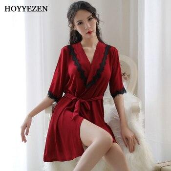 3547d1c5e431 Hoyyezen Новый сексуальный женский шифон Кружева прозрачный костюм Женщины  Глубокий V воротник платье с галстуком домашняя пижама