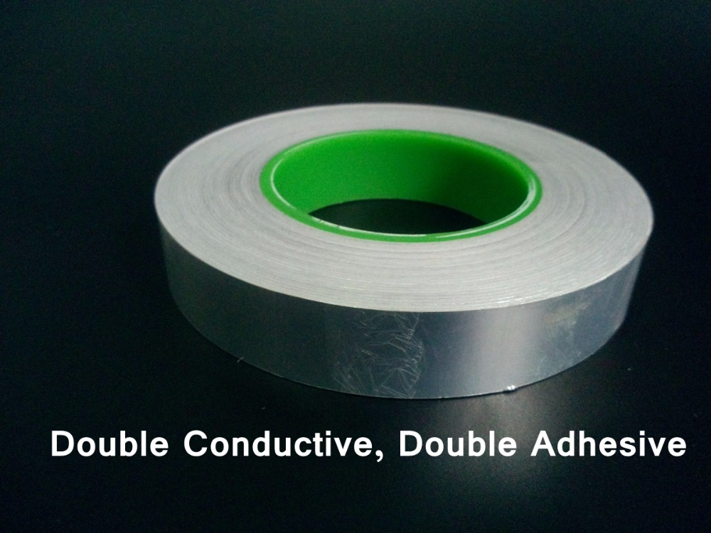 0.095mm Thick (25mm*50M) Double Sided Adhered Conductive Aluminum Foil EMI Shielding Tape fit for Phone, Laptop 5mm 30m 0 06mm thick double sided conductive copper foil tape emi masking electromagnetic shielding electrostatic discharge