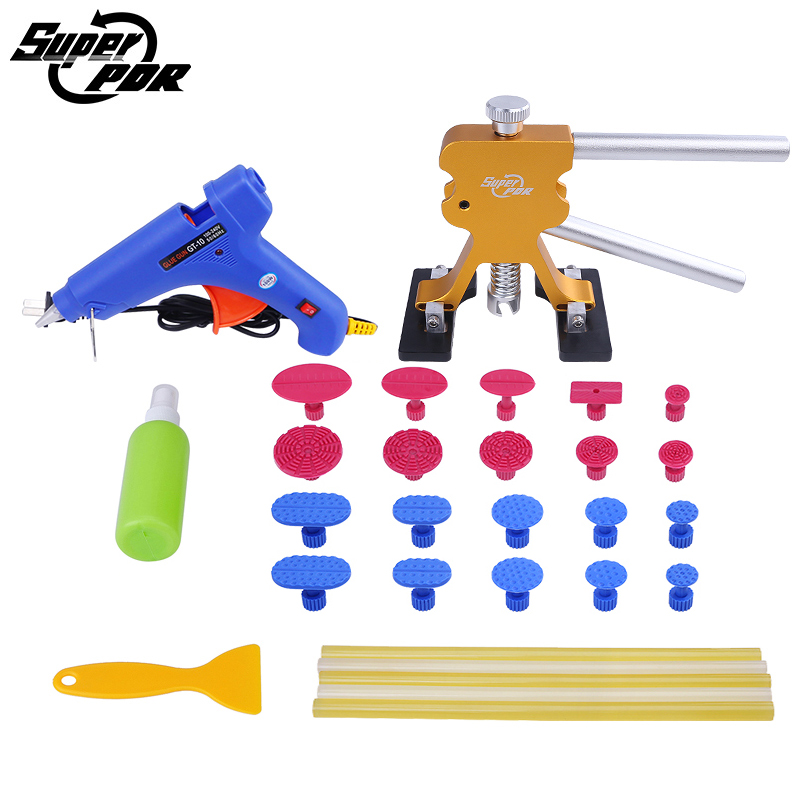 PDR Tools Car body Dent Repair Tool kit dent puller glue gun dent tabs hand tool set for Auto body Paintless dent removal super pdr puller handle mini t bar paintless dent repair tool 28pcs glue tabs auto repair tool set herramentas