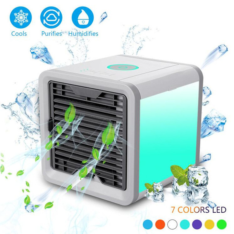 Cooler Small Air Conditioning Appliances Mini Fans Air Cooling Fan Summer Portable Conditioner Soothing 7 Colors LED Light