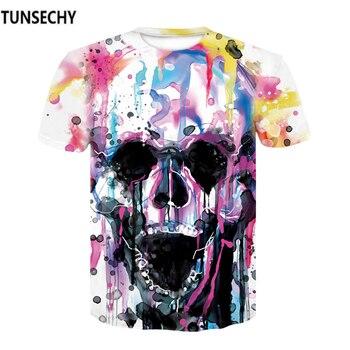 High Quality 2017 New Fashion Harajuku Women T-Shirt 3d Print The Skull Casual Bodycon T Shirt Summer Plus Size 5XL Tops Tees 1