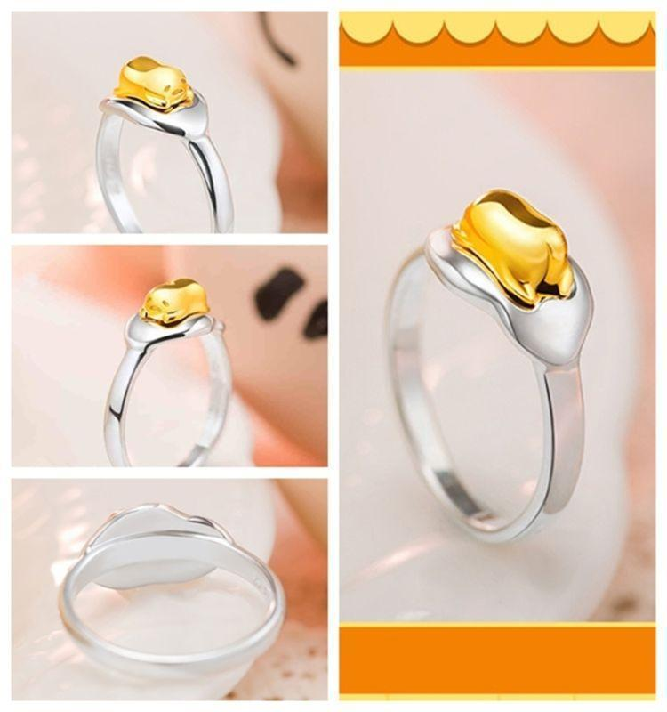 Anime Gudetama Egg 925 Silver Ring Accessories US size 7 Jewelry Costume Props Cute Gift New