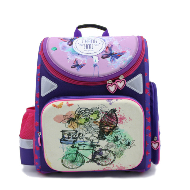 2016 purple butterfly child double shoulder waterproof backpack student/books/orthopedic school bag girls backpack for class 1-4