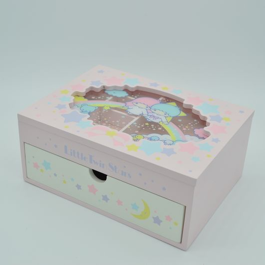 1pc Little Twin Stars Wooden case Box Japanese My Melody Cosmetic box Kit Dressing Storage Box For Girls dolls accessory