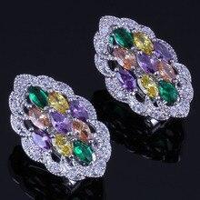Impressive Marquise Multigem Multicolor Brown Cubic Zirconia 925 Sterling Silver Clip Hoop Huggie Earrings For Women V0884