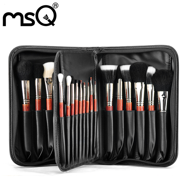Msq profesional 29 unids moda especial mango de madera roja con cobre virola de plata hermoso pelo de cabra cosméticos conjunto