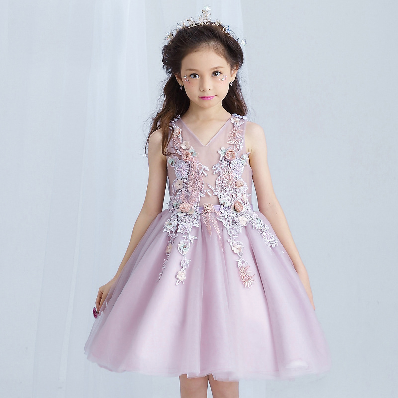 2017 embroidered flower girl dress kids pageant party wedding bridesmaid ball gown prom princess formal occassion