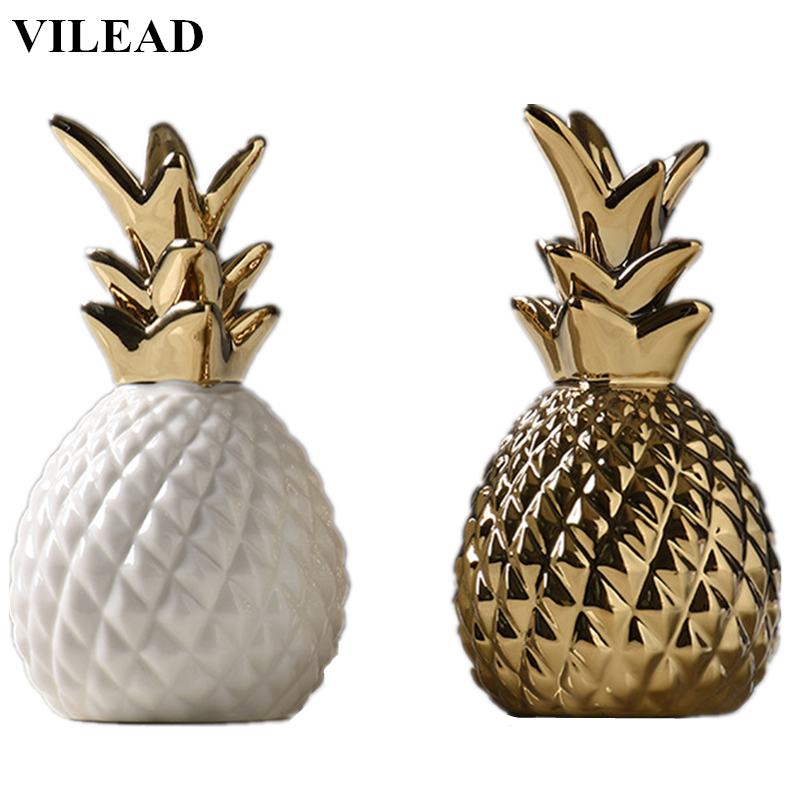 VILEAD 18cm Gold White Ceramic Pineapple Decorative Figurine Fruit Ornament Crafts Creative Home Decor New Year Decoracion Hogar