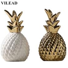 цена на VILEAD 7'' Gold White Ceramic Pineapple Decorative Figurines Fruit Ornament Crafts Creative Home Decor New Year Decoracion Hogar