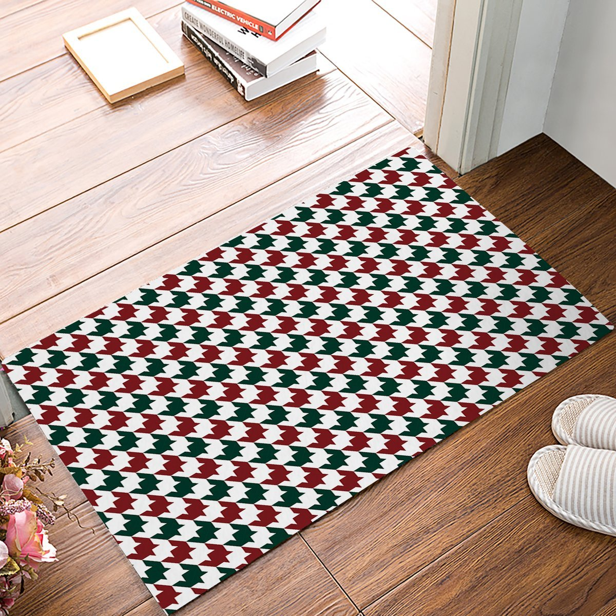 Fashion Houndstooth Red And Green Door Mats Kitchen Floor