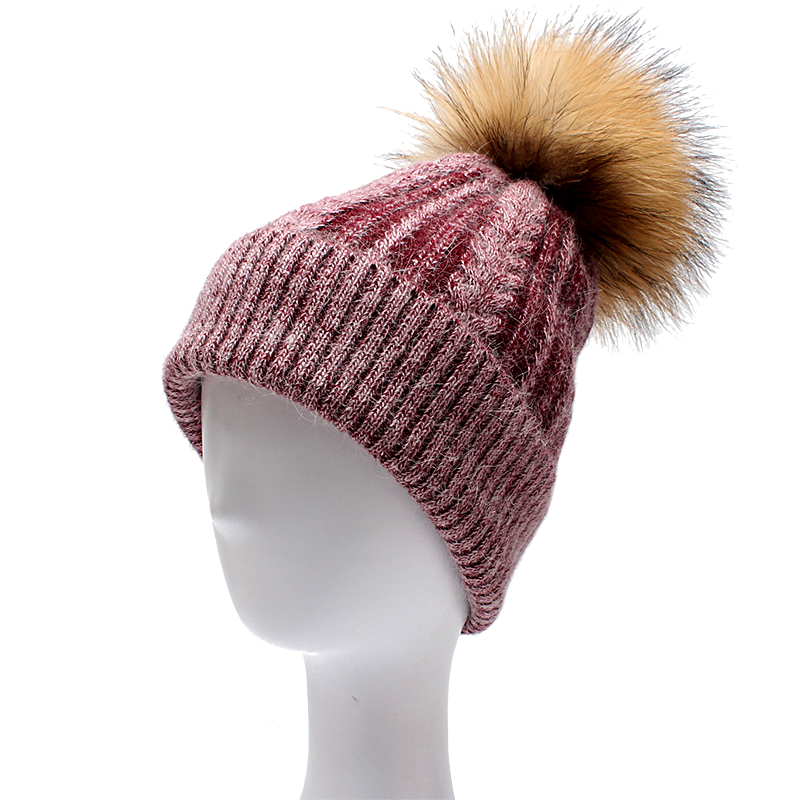 ROSELUOSI Women Winter Hats Real Raccoon Pompom Wool Knitted Beanies Hat Thick Warm Skullies Chapeu Feminino Inverno roseluosi 2017 thick warm winter hats for men letter embroidery knitted beanies women solid color knitted hat bone feminino