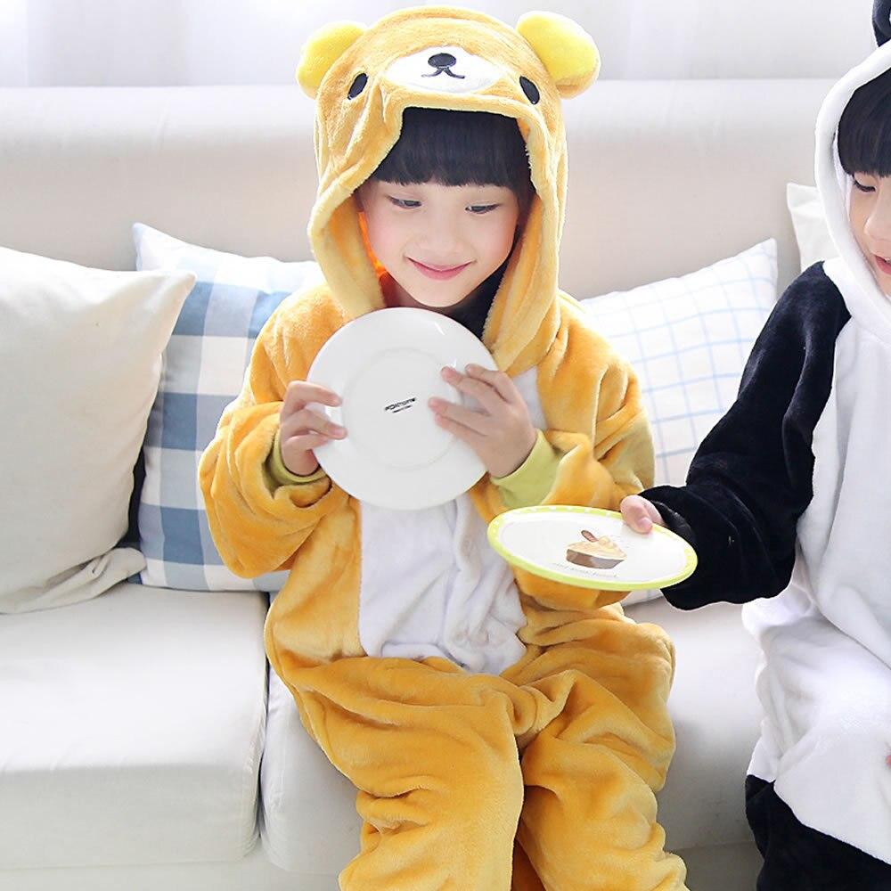 children cartoon pajamas panda bear baby girls boys clothes yellow