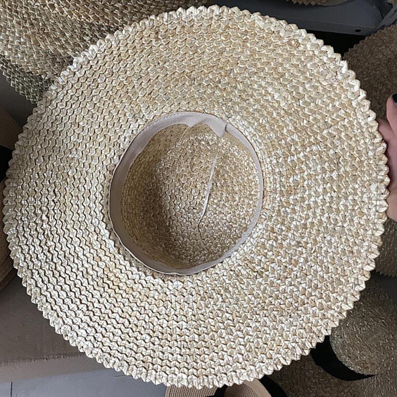 bb2a9f212a39f4 Women Flat Top Wheat Straw Hat Ribbon Sun Hats 12cm Wide Brim ...