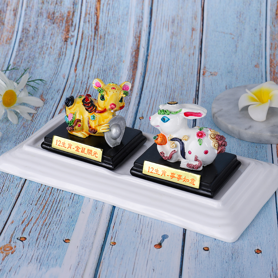 Figurines chinoises traditionnelles Miniatures ornements céramiques souris lapin Miniatures cadeaux pour artisanat de décoration de bureau à la maison