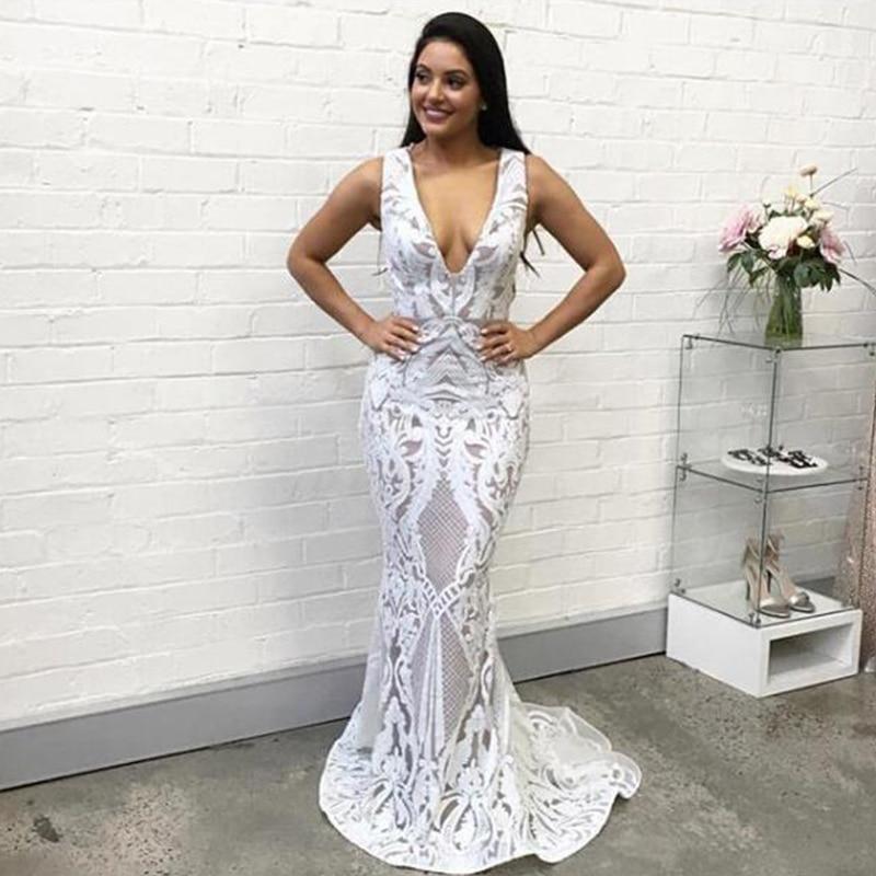 470cd21f244d Ohvera Prom Long Maxi Dress Women White Black Summer Bodycon Dress Elegant  V Neck Mesh Sequin Sexy Party Dresses 2018 Vestidos