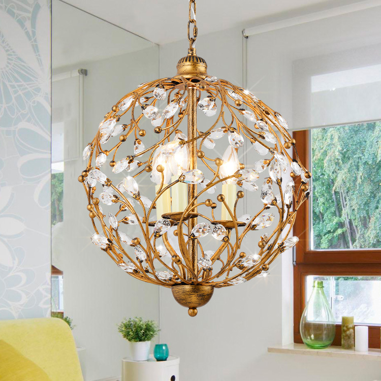 Chandelier Ball Cage Lighting Iron Balls Nordic Light Crystal Lamp Hanging Pendant Wrought Cages