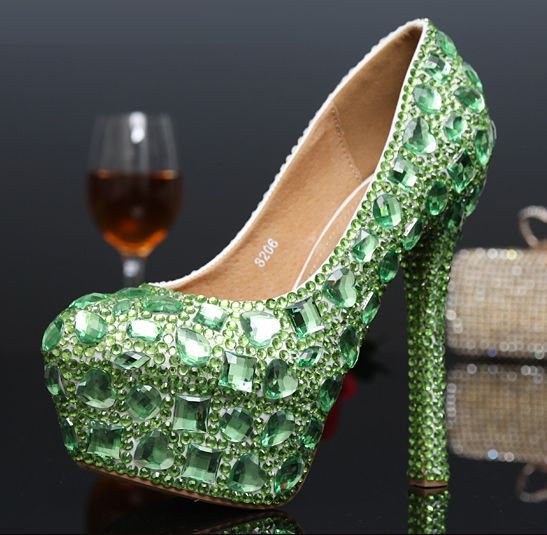 ФОТО 2017 new luxury green  rhinestones wedding shoes for women TG268 crystal partiesproms green shoes platforms sexy heels