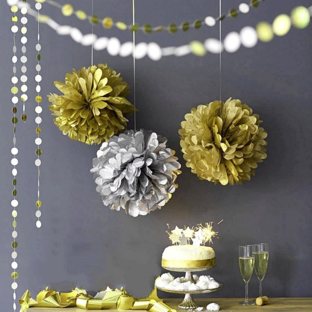 Birthday party backdrop tissue paper pom poms product on alibaba com - 10pcs Set 6 8 10 Metallic Gold Silver Tissue Paper Pom Poms Hanging Decorations For Wedding Party Festival Decor