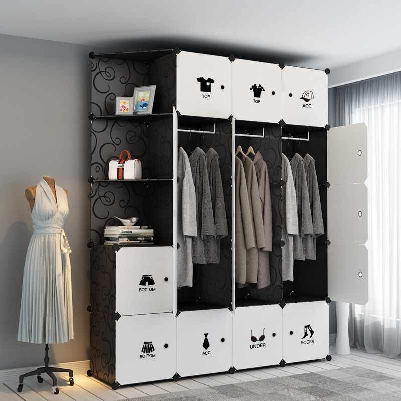 Black White Pp Plastic Clothes Wardrobes Metal Cloth Closet Jacket Cabinet Organizer Storage Bedroom Wardrobe Furniture B500