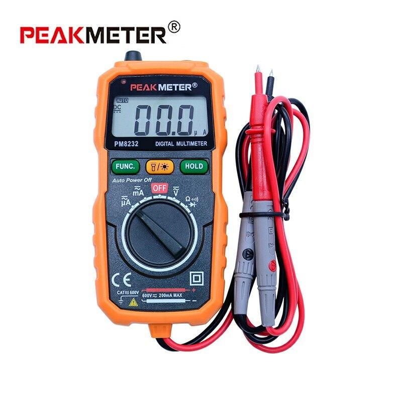 PEAKMETER no contacto Mini multímetro Digital PM8232 DC AC probador de voltaje de corriente de retención de datos amperímetro portátil medidor de voltaje